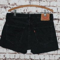 "90s High Waist Denim Shorts Levis 501 33"" 34"" cut offs Faded Black Distressed grunge festival boho hipster gypsy Punk Nu goth Jean 10 12"