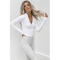 JOAH BROWN White Rib Half Zip Mock Neck