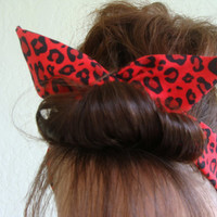 Dolly Bow Reversible Wire Headband Red Cougar Animal Print Rockabilly Pin Up Hair Accessory for  Teens Women Girls