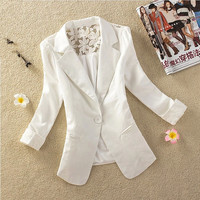 White Lace Notched Long-Sleeve Button Blazer