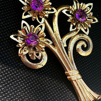 Glorious Gilt Vintage Ormula Triple Floral Flower Faux Amethyst Large Floral All Occasion Lapel Jacket Coat Brooch Badge Pin Clasp Pin