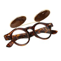 Steampunk Goth Glasses Mirrors Goggles Round Flip Up Sunglasses Women Men Retro Vintage Eyewear WrapEyeglasses #XG3140
