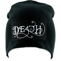 Death Beanie Knit Cap Alternative Occult Clothing Funeral Lolita Cemetery