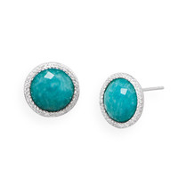 Round Freeform Faceted Amazonite Earrings with CZ Edge