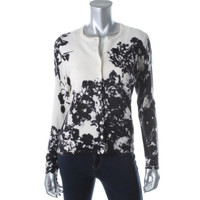 Lord & Taylor Womens Cashmere Floral Print Cardigan Sweater