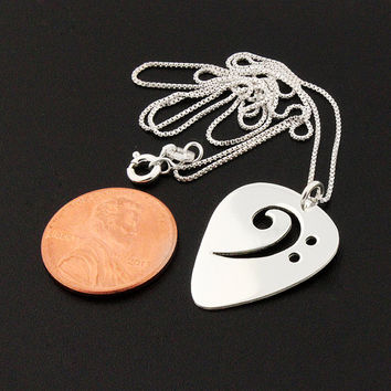 Guitar pick necklace sterling silver bass clef F clef necklace Music note pendant necklace comes with Italian box chain