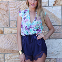 LUSH LIFE SHORTS , DRESSES, TOPS, BOTTOMS, JACKETS & JUMPERS, ACCESSORIES, 50% OFF SALE, PRE ORDER, NEW ARRIVALS, PLAYSUIT, COLOUR, GIFT VOUCHER,,SHORTS,Blue,LACE,CUT OUT,SLEEVELESS Australia, Queensland, Brisbane