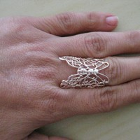 Beautiful Butterfly- Stylish Rosa plated Ring - Adjustable
