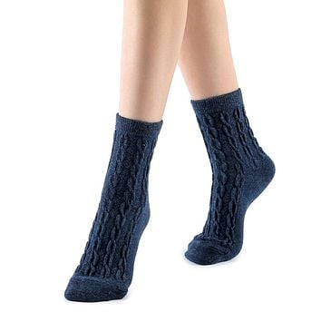 Bella Cable Knit Wool Crew Sock | Navy Blue