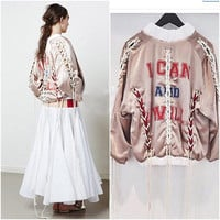 Sports Hot Deal On Sale Jacket Ladies Ripped Holes Alphabet Print Thicken Women's Fashion Baseball [9551821391]