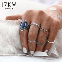 17KM 2016 New Fashion 6pcs Set Midi Ring Sets Boho Beach Vintage Tibetan Silver Color Rings For Women Jewelry Christmas Gift