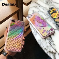 Bling Liquid Dynamic Quicksand Cases Mermaid Scales Glitter Cartoon Shinny Laser Phone Cases For