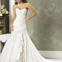 2012 Maggie Sottero Bridal - White Embroidered Taffeta & Lace Sweetheart Strapless Jovi Wedding Gown - 0 - 28 - Unique Vintage - Cocktail, Evening & Pinup Dresses