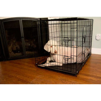Iconic Pet - 30 Inch Foldable Double Door Pet Dog Cat Training Crate with Divider