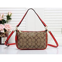 Coach fashion casual lady shopping bag hot seller with printed patchwork color shoulder bag #1