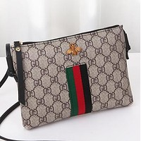 New fashion bee letter tartan print stripe leather shoulder bag crossbody bag