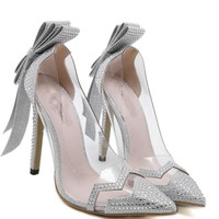 Silver Bowtie Butterfly Knot Wedding High Heel Shoes