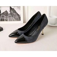 Hot Sale LV Louis Vuitton Popular Women 8cm Classic Pointed High Heels Shoes Sandals I-OMDP-GD