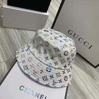"""Louis Vuitton"" Unisex Casual Bronzing Letter Print Dazzle Hat Fisherman Cap Couple Fashion Sun Hat"