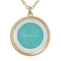 Hello Beautiful - Teal and dots Round Pendant Necklace