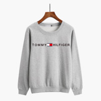 """Tommy Jeans"" Unisex Casual Small Letter Print Thickened Round Neck Long Sleeve Couple Sweater Tops"