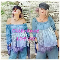 Clearance sale, off the shoulder denim poncho top, plus size, Coachella purples