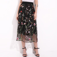 Fashion heavy embroidery embroidered water flower high waist skirt