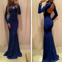Blue Keyhole Cut-Out Long Sleeve Mermaid Dress