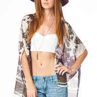 Floral Mirror Print Cardigan with Open Front
