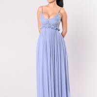 Ancient Rome Dress - Denim Blue