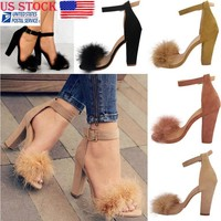 Women Fur Fluffy Fashion Heels Ankle Strap High Heel Sandals Stiletto Shoes Size