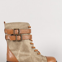 Bamboo Two Tone Double Buckle Lace Up Combat Boot
