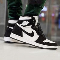 AJ 1 Air Jordan 1 High WMNS AJ1 fluff black and white cross high top shoes