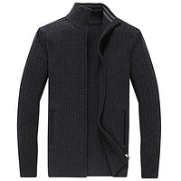 Long Mens Cardigans Plus Size S-4XL Thick Warm Wool Sweaters For Men Winter Clothing Zipper Sweater Fashion Coat