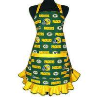 Green Bay Packers Apron, Retro Hostess Style with Ruffle and Pocket