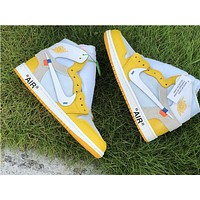 "Off-White x Air Jordan 1 ""Canary Yellow"" high-top breathable sports basketball shoes"