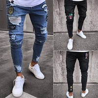 Men's Stretchy Ripped Jeans Cartoon Patch Skinny Biker Denim Mens Jeans