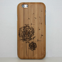 Dandelion Wood Case Solid wood Retro Wooden New Cover Carving flower Patterns Wood Slice Plastic Edges Back Cover for Iphone 6 case iPhone 6 Plus
