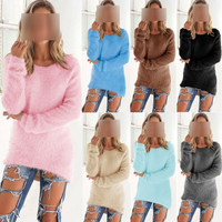 2016 Winter Mohair Sweater Women Asymmetrical Style Pullover Solid Female Korean Sweater Coat Thick Loose Clothes College Wind