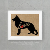 German Shepherd Love - Burlap or Canvas Printed Wall Art Silhouette for Dog Lovers. A Shabby Chic, Cottage Style Wall Hanging