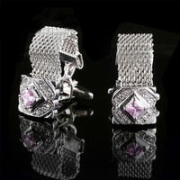 Men's Cufflinks Upscale Classic Copper Crystal Wedding French