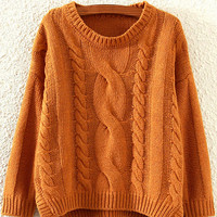 Brown Long Sleeve Knit Sweater