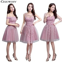 CEEWHY Three Quarter Sleeves V-Neck Embroidery Knee Length Wedding Party Dress Formal Gowns 2017 Short Bridesmaid Dresses