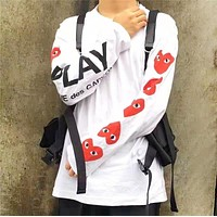 Play Autumn And Winter New Fashion Love Heart Eye Letter Print Sports Leisure Women Men Long Sleeve Top Sweater White