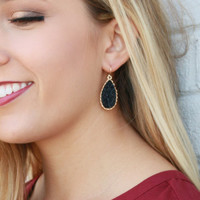 Starry Vision Black Iridescent Crystallized Mineral Druzy Earrings