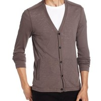 Kenneth Cole New York Men's Ribbed Cardigan with Slub Piecing