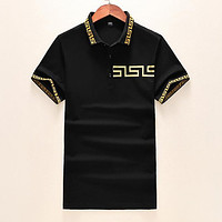 Versace Popular Men Women Casual Short Sleeve T Shirt Top Black