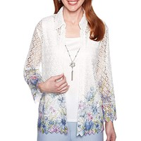 Alfred Dunner Women's South Hampton Lace Floral Border Two for One Top