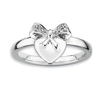 925 Sterling Silver Diamond Heart Bow Ribbon Ring: Size: 10
