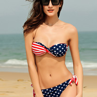 Twist Bandeau Stripes And Stars Bikinis Set